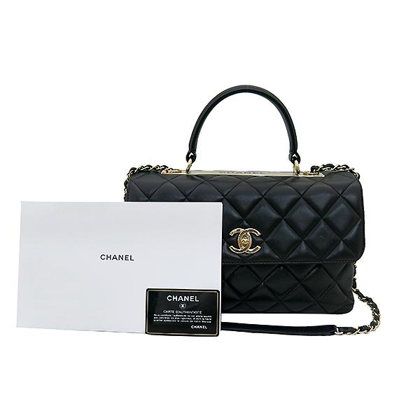 Chanel(샤넬) A69923 블랙 컬러 램스킨 클래식 COCO 금장로고 트렌디 CC M(미듐) 탑핸들 2WAY [부산센텀본점]