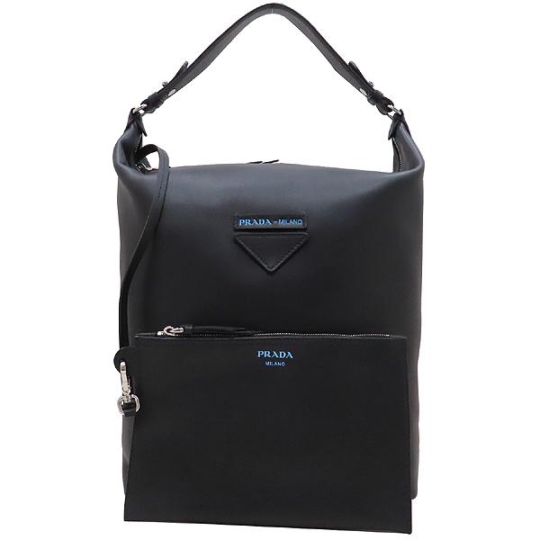 Prada(프라다) 1BC066 블랙 카프 레더 에티켓 레터링 로고 장식 호보 숄더백 + 보조파우치 [인천점] 이미지2 - 고이비토 중고명품