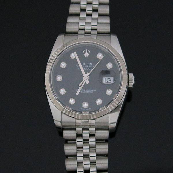 Rolex(로렉스) 116234 DATE JUST 데이트저스트 36MM 블랙 다이얼 10포인트 다이아 스틸 쥬빌레 브레이슬릿 남성용 시계 [대구동성로점] 이미지2 - 고이비토 중고명품