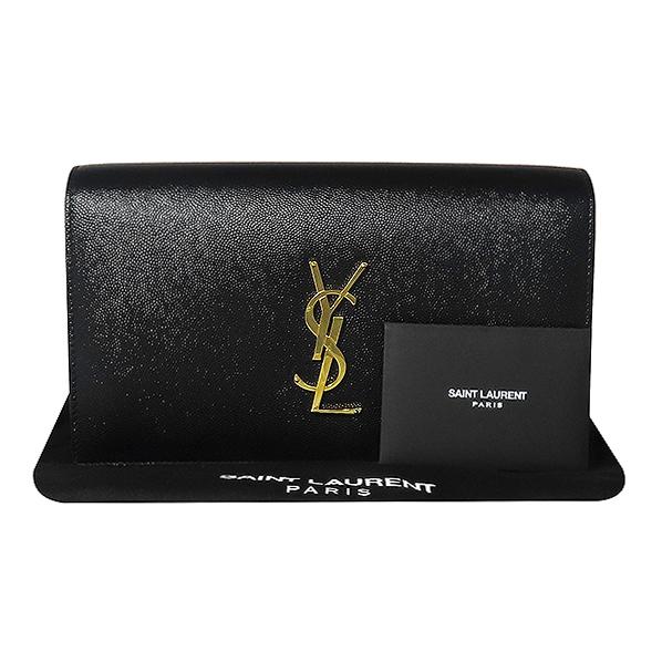 SAINTLAURENT PARIS(생로랑파리) 400409 금장 로고 장식 클래식 모노그램 블랙 레더 클러치백 [대전본점]