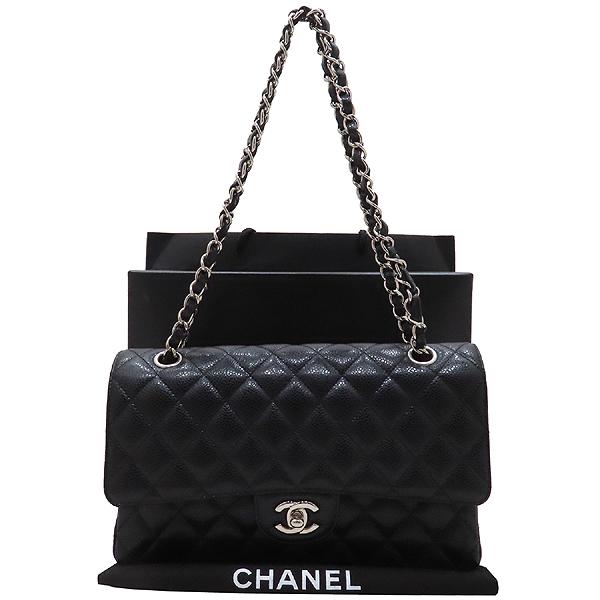 Chanel(샤넬) A01112 캐비어스킨 블랙컬러 클래식 M사이즈 은장 체인 플랩 숄더백 [인천점]