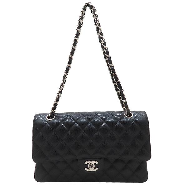 Chanel(샤넬) A01112 캐비어스킨 블랙컬러 클래식 M사이즈 은장 체인 플랩 숄더백 [인천점] 이미지2 - 고이비토 중고명품