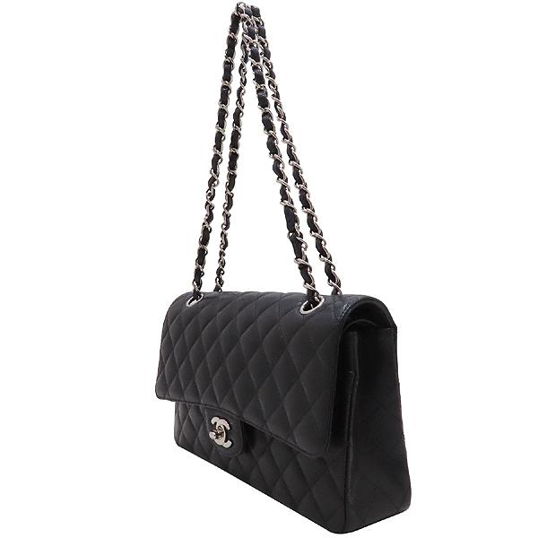 Chanel(샤넬) A01112 캐비어스킨 블랙컬러 클래식 M사이즈 은장 체인 플랩 숄더백 [인천점] 이미지3 - 고이비토 중고명품