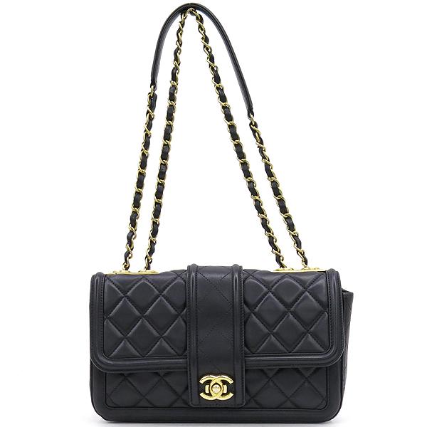 Chanel(샤넬) 샤넬 블랙 램스킨 COCO 금장 로고 체인 원플랩 숄더백 [강남본점] 이미지2 - 고이비토 중고명품