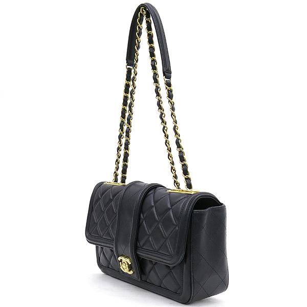 Chanel(샤넬) 샤넬 블랙 램스킨 COCO 금장 로고 체인 원플랩 숄더백 [강남본점] 이미지3 - 고이비토 중고명품