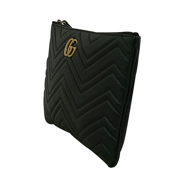 Gucci(구찌) 525541 블랙 레더 GG Marmont(마몬트) 마틀라세 금장로고 클러치 [대구동성로점]