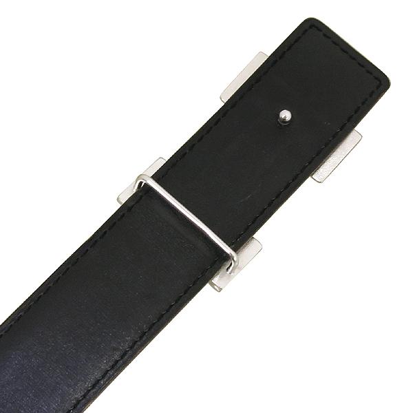 Hermes(에르메스) 은장 H로고 블랙 / 브라운 레더 양면 남성용 벨트 [잠실점]