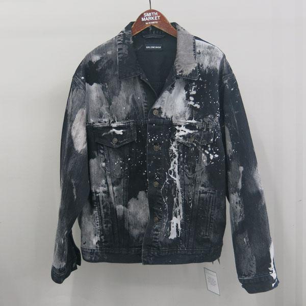 Balenciaga(발렌시아가) 557648TXE03 블랙 컬러 페인트 스테인 남성용 데님 자켓 [동대문점]