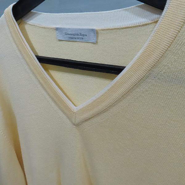 Zegna(제냐) 옐로우 컬러 면 혼방 브이넥 남성용 니트 [인천점] 이미지2 - 고이비토 중고명품
