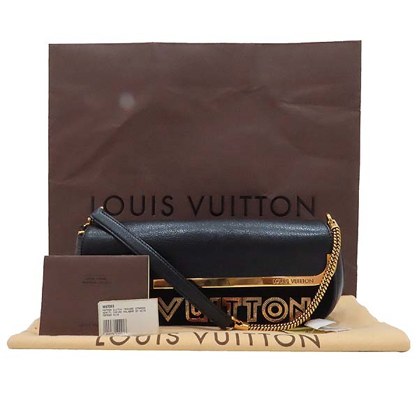 Louis Vuitton(루이비통) M97093 블랙 스웨이드 레더 한정판 금장 체인 로고 장식 이브닝 아방가르드 클러치 겸 숄더백 [인천점]