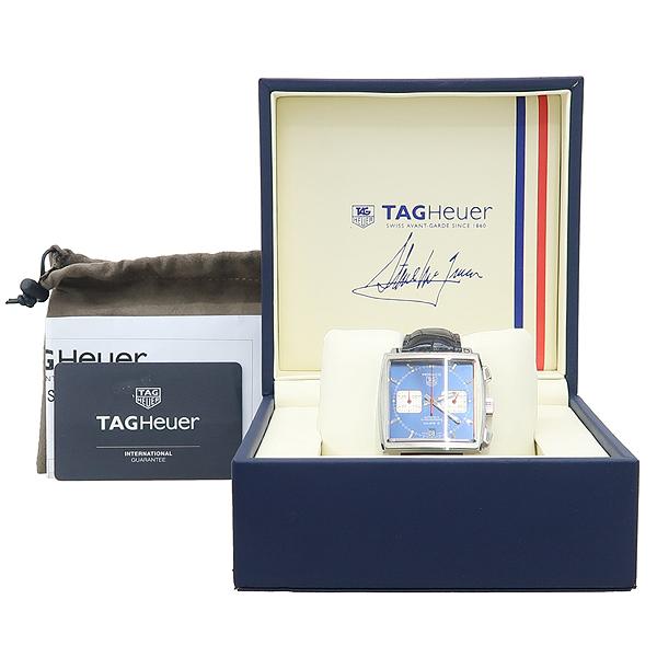 Tag Heuer(태그호이어) CAW2111.FC6183 모나코 칼리버 12 블루 다이얼 크로노그래프 오토메틱 가죽밴드 남성용 시계 [강남본점]