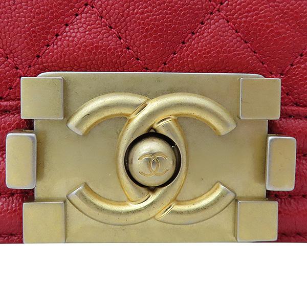 Chanel(샤넬) A67086 보이샤넬 M사이즈 레드 캐비어스킨 금장 체인 숄더백 [부산서면롯데점] 이미지4 - 고이비토 중고명품