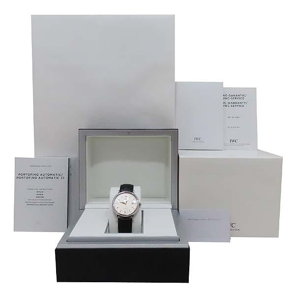 IWC(아이더블유씨) IW356517 PORTOFINO (포르토피노) 화이트 다이얼 금장 바 인덱스 데이트 블랙 레더 브레이슬릿 폴딩 버클 오토매틱 남성용 시계 [인천점]