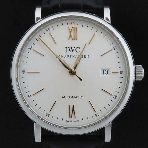 IWC(아이더블유씨) IW356517 PORTOFINO (포르토피노) 화이트 다이얼 금장 바 인덱스 데이트 블랙 레더 브레이슬릿 폴딩 버클 오토매틱 남성용 시계 [인천점] 이미지2 - 고이비토 중고명품