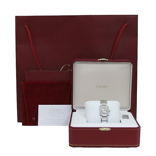 Cartier(까르띠에) W4TA0008 탱크 프랑세스 베젤 다이아 S사이즈 쿼츠 스틸 여성용 시계 [부산센텀본점]
