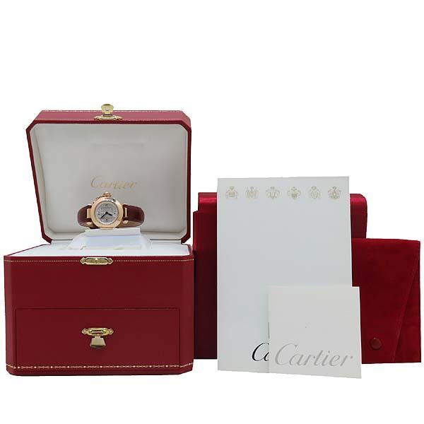 Cartier(까르띠에) WJ124028 PASHA 파샤 750 핑크골드 베젤 8 포인트 파베 다이얼 패브릭 브레이슬릿 쿼츠 여성용 시계 [인천점]