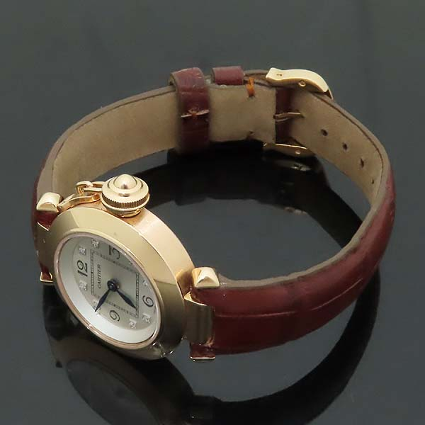 Cartier(까르띠에) WJ124028 PASHA 파샤 750 핑크골드 베젤 8 포인트 파베 다이얼 패브릭 브레이슬릿 쿼츠 여성용 시계 [인천점] 이미지3 - 고이비토 중고명품