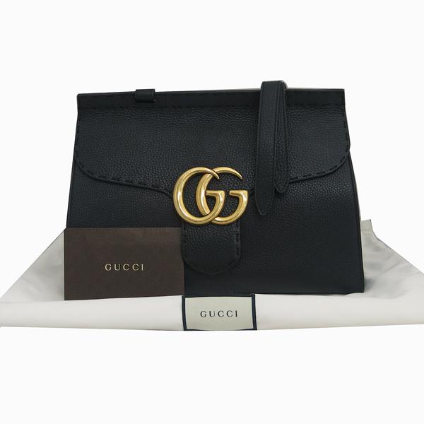 Gucci(구찌) 421890 블랙 레더 GG Marmont(마몬트) 금장 로고 토트백+숄더스트랩 2WAY [동대문점]