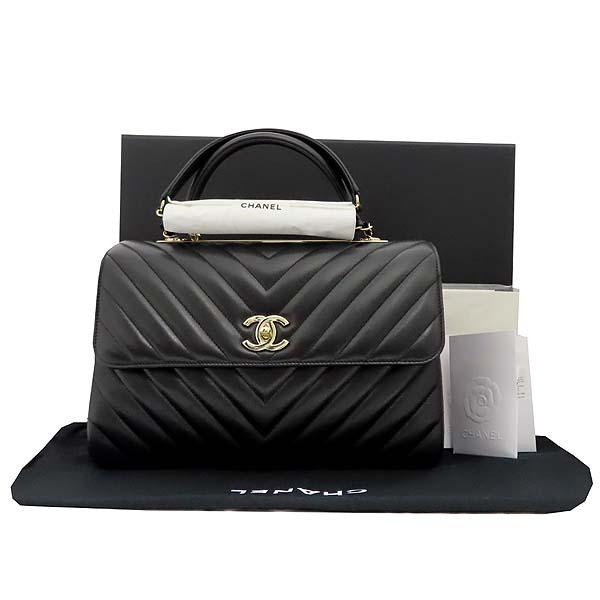 Chanel(샤넬) 19B A69923Y83366 COCO 금장 로고 블랙 쉐브론 램스킨 트랜디 CC백 + 숄더스트랩 (28번 단위) [잠실점]