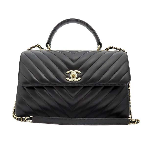 Chanel(샤넬) 19B A69923Y83366 COCO 금장 로고 블랙 쉐브론 램스킨 트랜디 CC백 + 숄더스트랩 (28번 단위) [잠실점] 이미지2 - 고이비토 중고명품