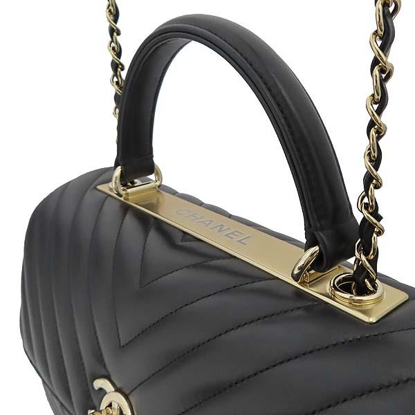 Chanel(샤넬) 19B A69923Y83366 COCO 금장 로고 블랙 쉐브론 램스킨 트랜디 CC백 + 숄더스트랩 (28번 단위) [잠실점] 이미지4 - 고이비토 중고명품