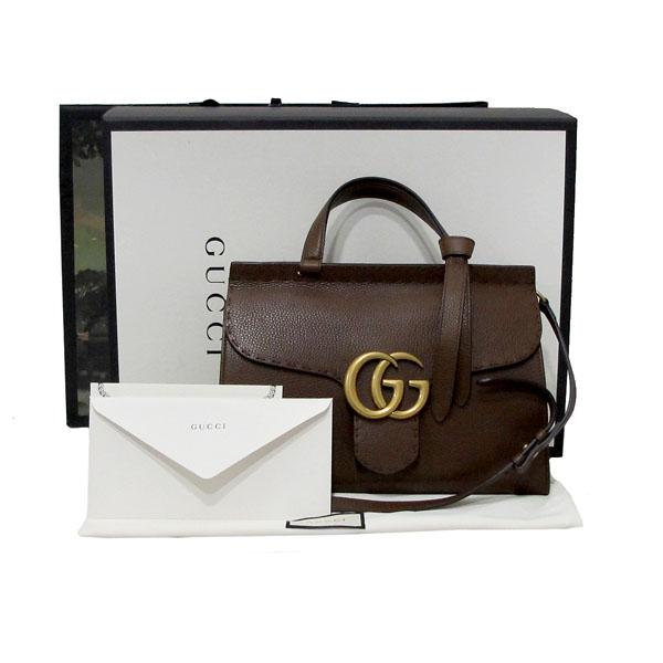 Gucci(구찌) 421890 브라운 레더 GG Marmont(마몬트) 금장 로고 토트백 + 숄더스트랩 2WAY [대구반월당본점]