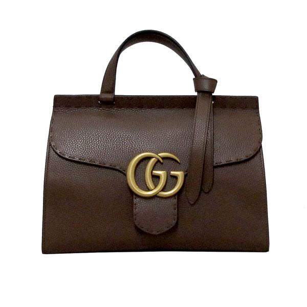 Gucci(구찌) 421890 브라운 레더 GG Marmont(마몬트) 금장 로고 토트백 + 숄더스트랩 2WAY [대구반월당본점] 이미지2 - 고이비토 중고명품