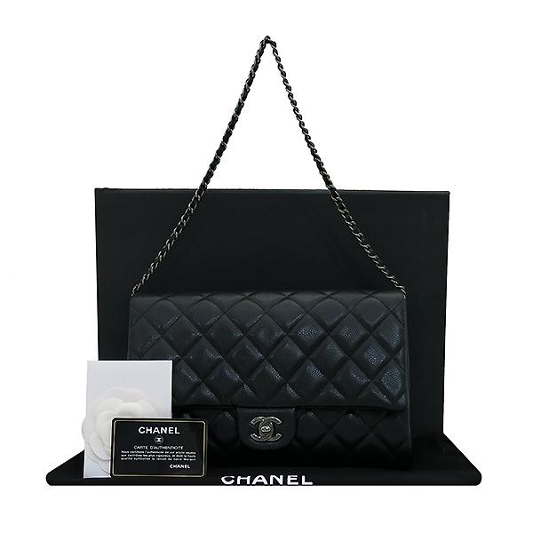 Chanel(샤넬) A65051 TIMELESS(타임 리스) CLASSIC(클래식) 블랙 캐비어 클러치겸 은장 체인 숄더백 [부산센텀본점]