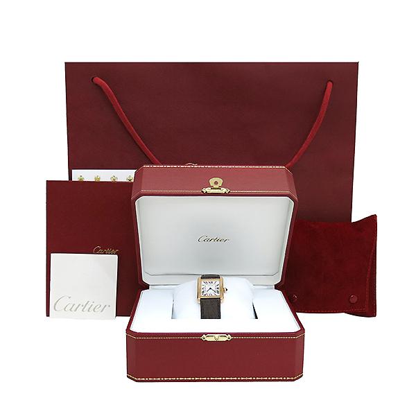 Cartier(까르띠에) W5200024 18K 핑크 골드 콤비 TANK SOLO(탱크 솔로) 다크브라운 컬러 가죽 스트랩 쿼츠 여성용시계 [부산센텀본점]