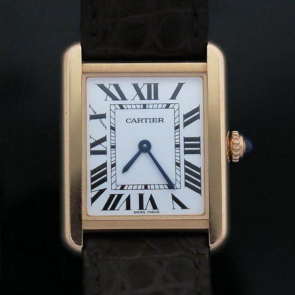 Cartier(까르띠에) W5200024 18K 핑크 골드 콤비 TANK SOLO(탱크 솔로) 다크브라운 컬러 가죽 스트랩 쿼츠 여성용시계 [부산센텀본점] 이미지2 - 고이비토 중고명품