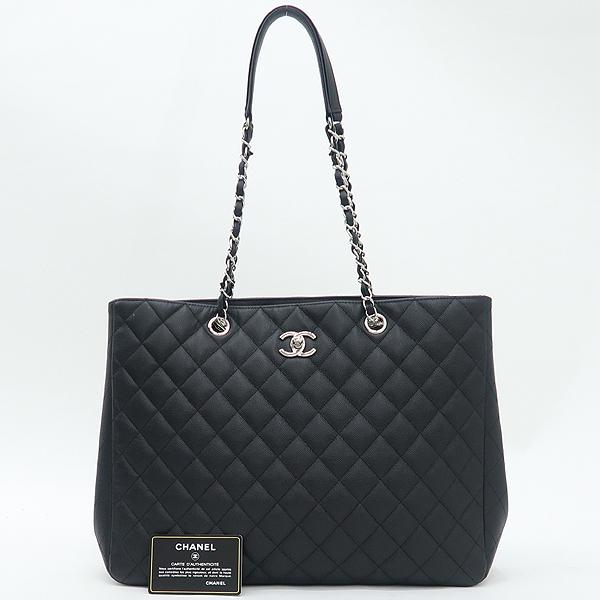 Chanel(샤넬) A91046 캐비어스킨 블랙 퀼팅 마틀라세 메탈 은장로고 타임리스 쇼핑 체인 숄더백 [강남본점]