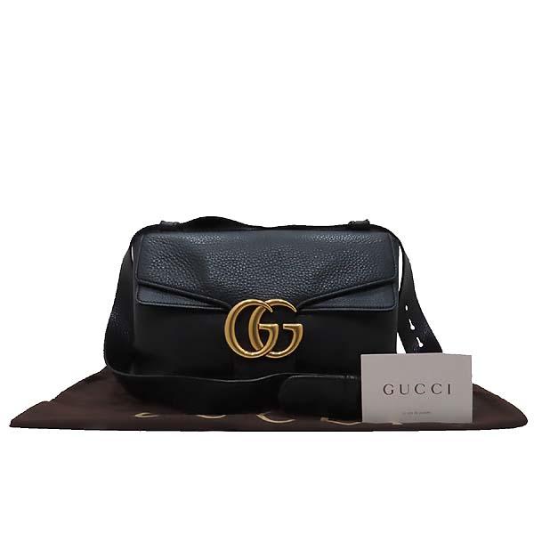 Gucci(구찌) 401173 블랙 레더 금장 마몬트 로고 플랩 숄더백 [인천점]
