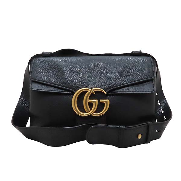 Gucci(구찌) 401173 블랙 레더 금장 마몬트 로고 플랩 숄더백 [인천점] 이미지2 - 고이비토 중고명품