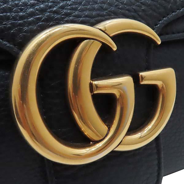 Gucci(구찌) 401173 블랙 레더 금장 마몬트 로고 플랩 숄더백 [인천점] 이미지4 - 고이비토 중고명품