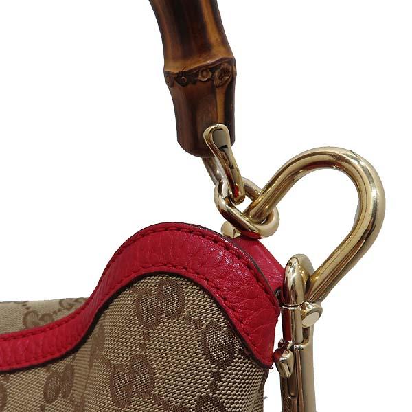 Gucci(구찌) 282315 GG 로고 자가드 레드 레더 트리밍 뱀부 장식 토트백 + 숄더스트랩 2WAY [인천점]