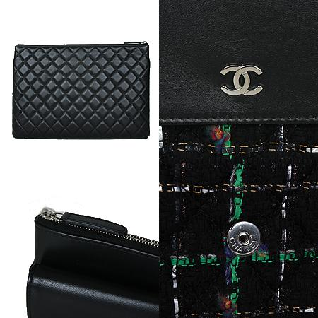 Chanel(샤넬) COCO 은장로고 블랙 램스킨 트위드 클러치백[광주상무점] 이미지4 - 고이비토 중고명품