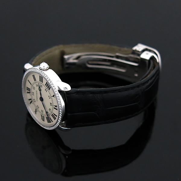 Cartier(까르띠에) WR000251 18K 화이트 골드 금통 다이아 RONDE (롱드) LOUIS (루이) 가죽 밴드 쿼츠 여성용 시계 [부산센텀본점] 이미지3 - 고이비토 중고명품