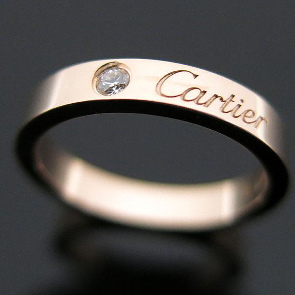 Cartier(까르띠에) B4086451 18K 핑크 골드 까르띠에 인그레이빙 1포인트 다이아 웨딩 밴드 반지 - 11호 [대구동성로점]