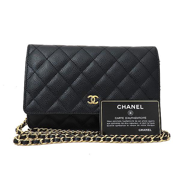 Chanel(샤넬) A33814 금장 블랙 캐비어 WOC 월릿 온 금장 체인 크로스백 [부산서면롯데점]