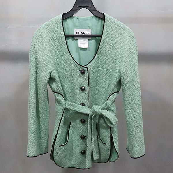 Chanel(샤넬) P43716V17673 그린 컬러 트위드 버튼 장식 여성용 자켓 [인천점]