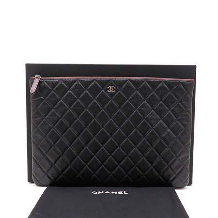 Chanel(샤넬) 캐비어스킨 COCO 은장 로고 L 클러치백 (W) 이미지2 - 고이비토 중고명품
