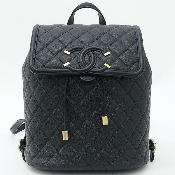 Chanel(샤넬) A57090 블랙 캐비어 스킨 COCO로고 Filigree(필리그리) 퀼팅 백팩 [강남본점] 이미지2 - 고이비토 중고명품