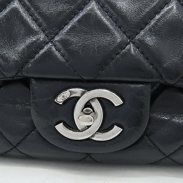 Chanel(샤넬) 블랙 빈티지 크렉 레더 COCO 로고 장식 체인 숄더백 [강남본점] 이미지4 - 고이비토 중고명품