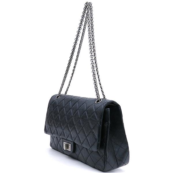 Chanel(샤넬) A37590 블랙 컬러 빈티지 2.55 L사이즈 은장 체인 플랩 숄더백 [강남본점] 이미지2 - 고이비토 중고명품