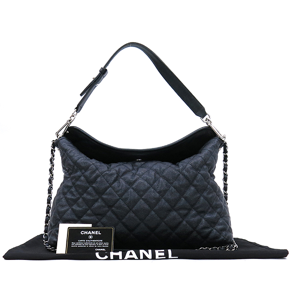 Chanel(샤넬) 블랙 캐비어스킨 은장 COCO 로고 체인 2WAY [강남본점]