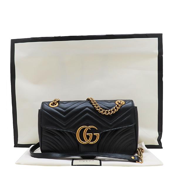 Gucci(구찌) 443497 블랙 레더 GG 마몬트 스몰 마틀라쎄 퀼팅 금장 체인 숄더백 [인천점]