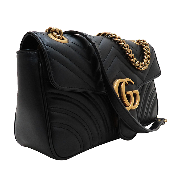 Gucci(구찌) 443497 블랙 레더 GG 마몬트 스몰 마틀라쎄 퀼팅 금장 체인 숄더백 [인천점] 이미지3 - 고이비토 중고명품