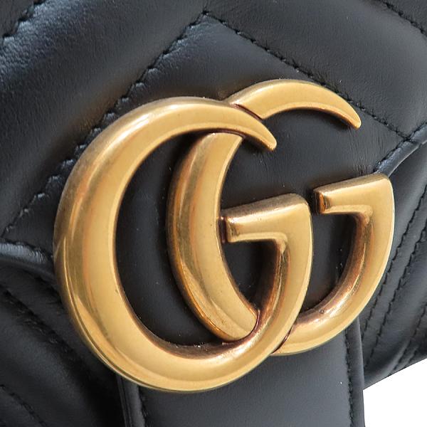 Gucci(구찌) 443497 블랙 레더 GG 마몬트 스몰 마틀라쎄 퀼팅 금장 체인 숄더백 [인천점] 이미지4 - 고이비토 중고명품