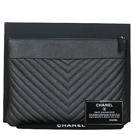 Chanel(샤넬) A80992B0007694305 샴페인골드 마드모아젤 캐비어 쉐브론 뉴미듐 클러치[광주롯데점] 이미지3 - 고이비토 중고명품
