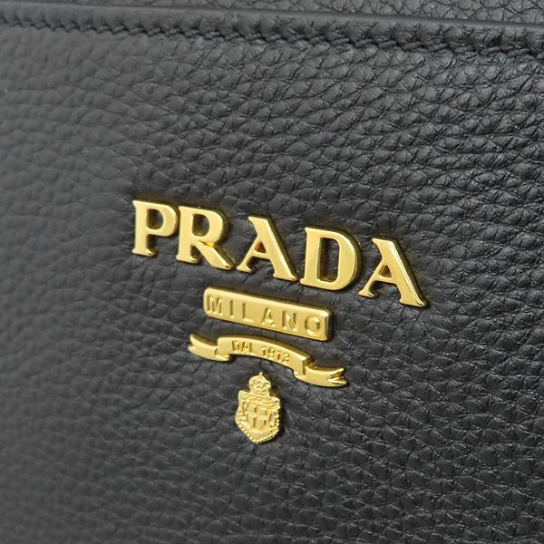 Prada(프라다) 1BA063 VIT.DAINO (비텔로다이노) NERO 블랙 레더 금장 로고 토트백 + 숄더스트랩 2WAY [대구황금점] 이미지4 - 고이비토 중고명품